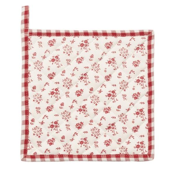 Topflappen rot weiß Rosen Baumwolle Clayre & Eef JCF45R 20 x 20 cm