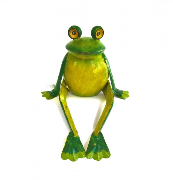 Deko Frosch Metall Garten Grün Gelb Sitzend Handarbeit 25 cm