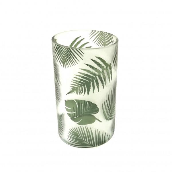 Windlicht Teelicht Glas Dschungel Botanik Blatter Modern 20 x 12 cm marsmore