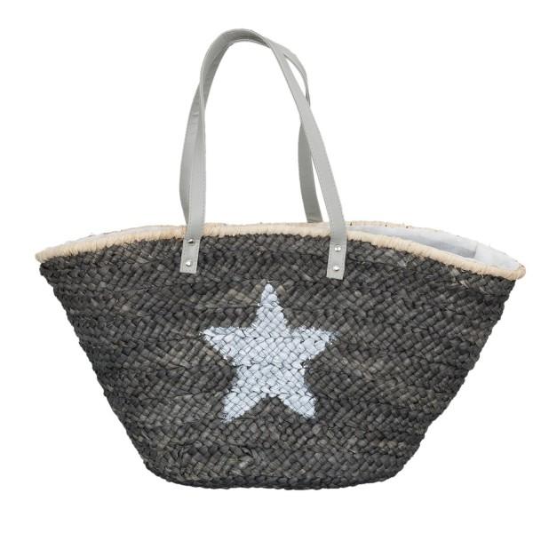 Tasche Shopper Strandtasche Clayre & Eef Stern 30 x 67 cm grau weiß BAG193
