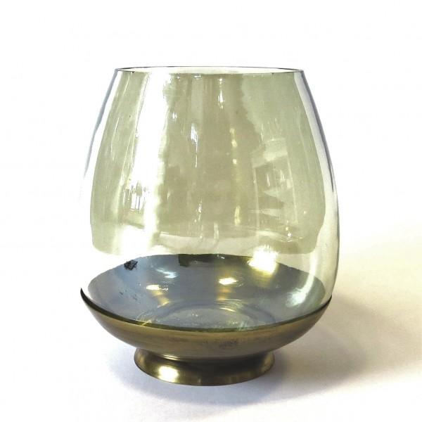 Windlicht Teelichthalter Retro Gold Glas Metall Tischdeko Colmore