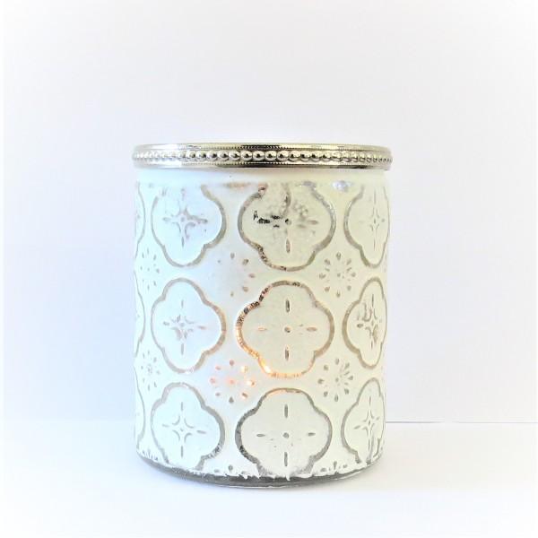 Windlicht Teelicht Weihnachten Glas in weiß mit Ornamenten 12 cm