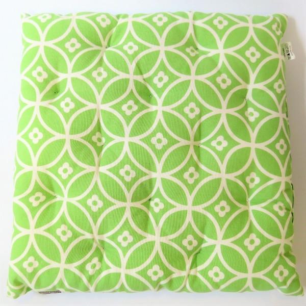 Linen & More Sitzkissen Kissen Dekokissen grün 40 x 40 x 5 cm gekreuzte Kreise