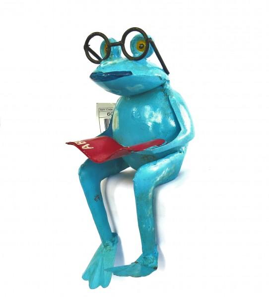 Metall Frosch Garten Deko Blau Brille Buch Handarbeit Sitzend