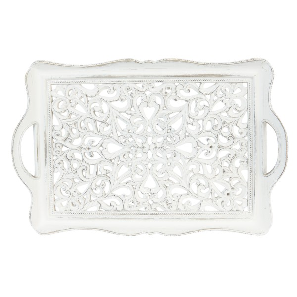 Clayre & Eef Tablett Schale Untersetzer weiß shabby Landhaus 40 cm 63688