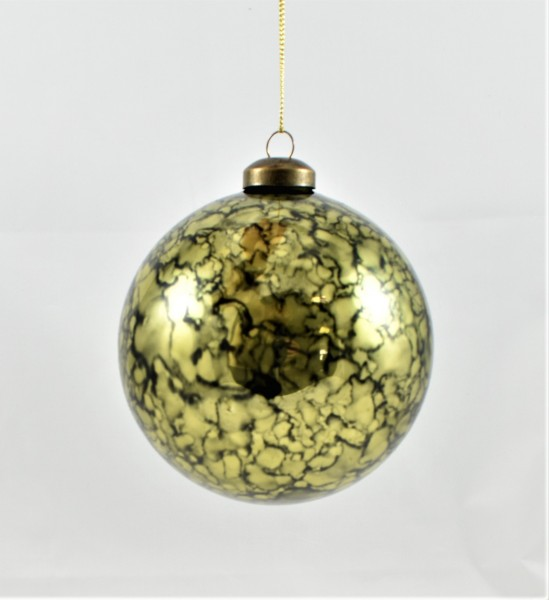 Weihnachtsbaumkugel 4er SET Christbaumkugel Weihnachten Colmore Glas grün gold 10 cm