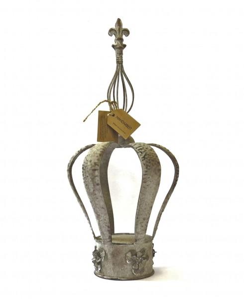 Krone Deko ArtFerro Gartendeko Ampel Exner Metall Antik Grau 49 cm