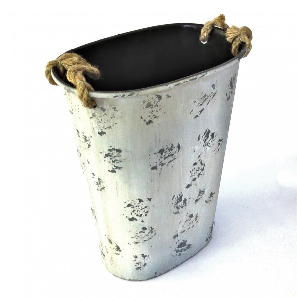 Deko Blech Korb Shabby Grau Blau mit Henkel 46x38 cm