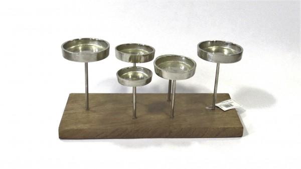 Kerzenständer Teelichthalter Modern Silber Holz 6armig Mylo-Kollektion 35 cm