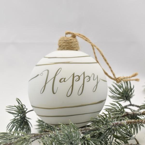 """Weihnachtsbaumkugel Christbaumkugel Weihnachten Riviera Maison"""" Happy"""" weiß 8 cm"""