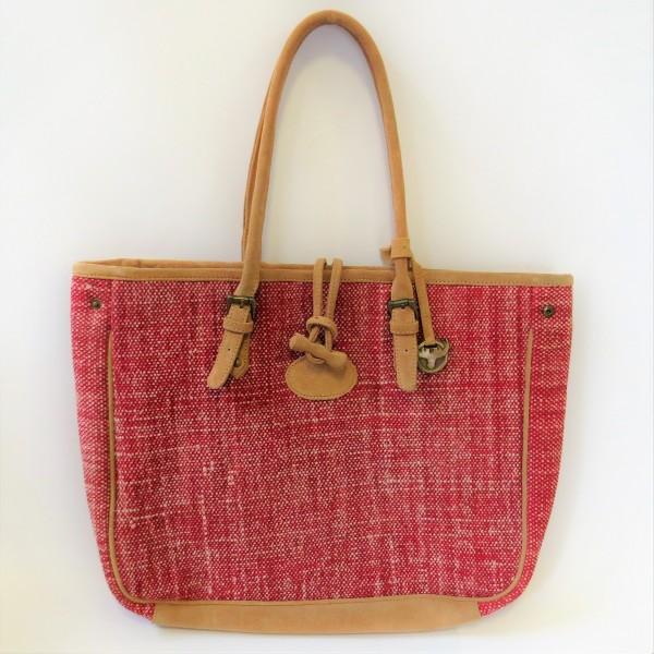 Tasche Damentasche Handtasche Shopper Baumwolle Leder rot