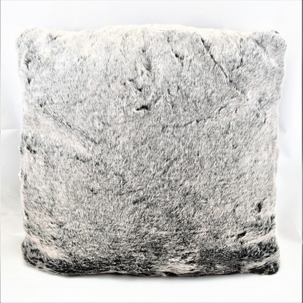 Kissen Dekokissen Fellkissen Alaska grau / schwarz 45 x 45 cm Fell Samt