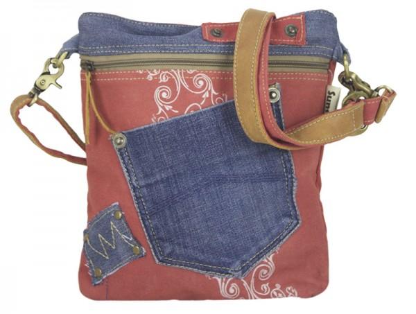 Tasche Damen Stoff Jeans Schultertasche Klein Rot Blau Umhängetasche Sunsa