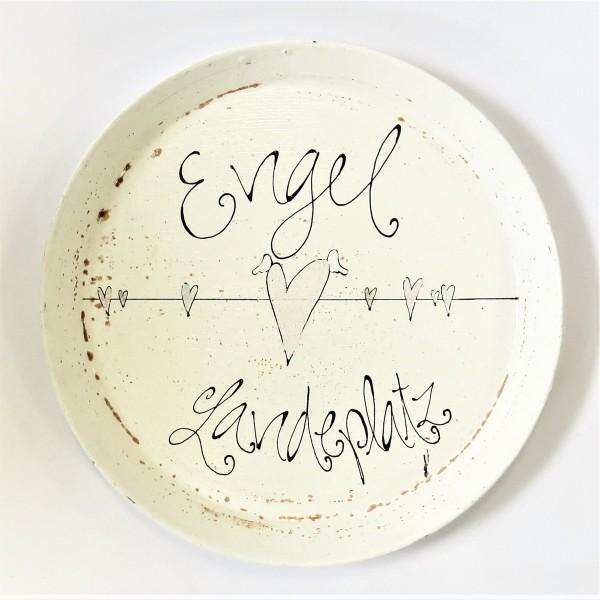 Tablett Serviertablett Servierschale Unterlegschale rund shabby metall Engel Herz 39 cm