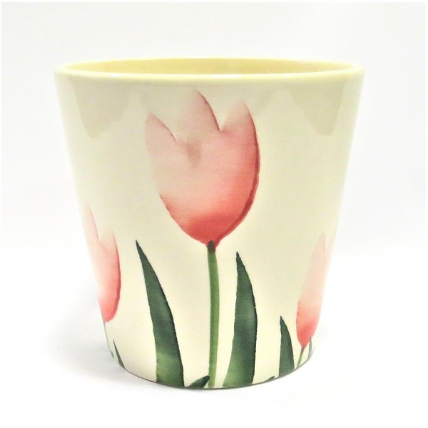 Übertopf Tulpen Motiv Frühling Ostern Keramik Deko Blumen 15x15 cm