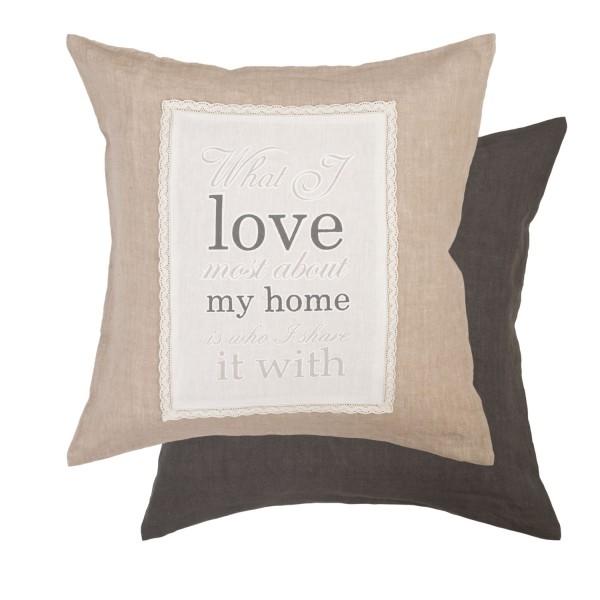 Zierkissenhülle Beige Natur Love Home Clayre & Eef Shabby Antik Stil Landhaus 52,5x52,5 cm