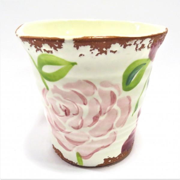 Übertopf Blumen Pflanzen Deko Villa Pottery Ton Pink 14 x 15 cm