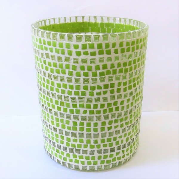 Windlicht Teelicht Mosaikmuster Glas grün weiß Colmore 10 x 13 cm 0,6kg Hippie retro