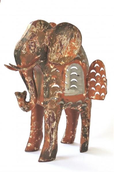 Teelichthalter Elefant Metall Braun XL Industrie Stil Retro Weihnachten bell arte 40 cm