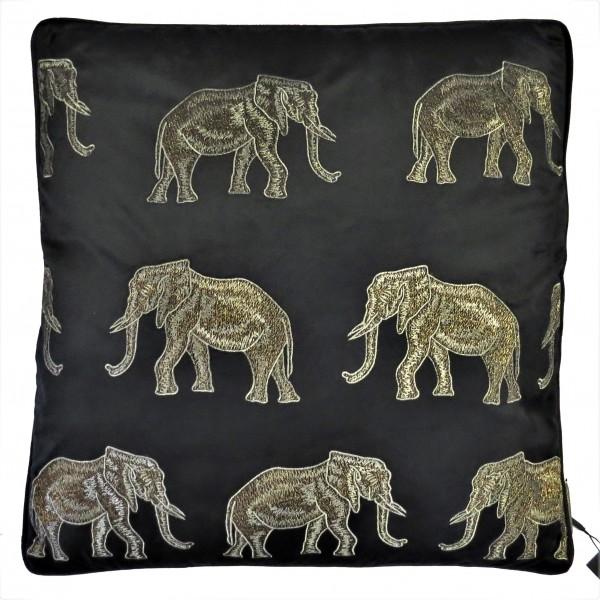 Kissen Zier Deko Samt Schwarz Gold Bronze Elefant Colmore Luxus 50x50 cm Colmore
