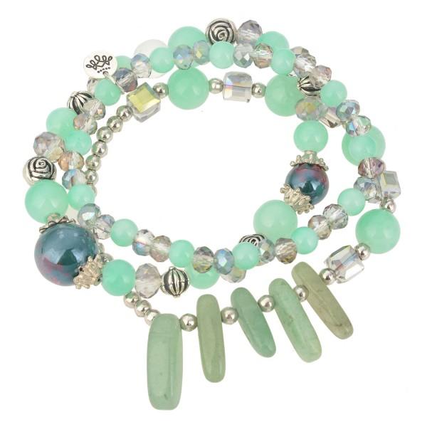 Armband Armreif Armschmuck Azur Grün 3fach Modeschmuck Sommer Clayre & Eef Dehnbar
