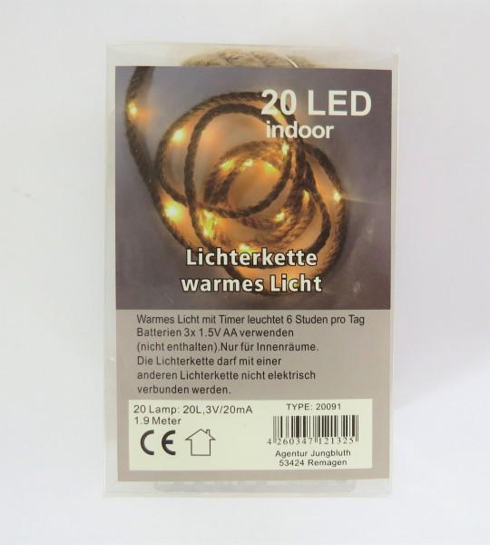 Lichterkette an Jutestrick warmes Licht Taulichterkette mit Timer Indoor 1.9 Meter