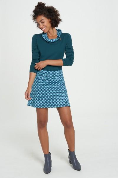 Rock Stiefelrock Flower Stil Blau Leicht Ausgestellt Tranquillo Bio Mode S 36