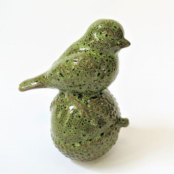 Dekovogel Vogelfigur Keramik Vögelchen Gartendeko stehend grün braun 19,5 cm