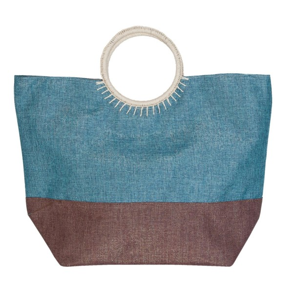 Clayre & Eef Shopper Tasche Strandtasche Hippie blau braun BAG283 38*23*42 cm Polyester