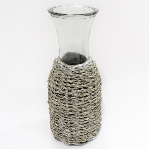 Vase Kanne Dekovase Glas Rattan Shabby Natur Hippie 27 cm