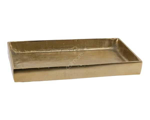 Tablett Teller Schale Platte Deko Kerzen Gold Bronze Metall Colmore Rechteckig Retro