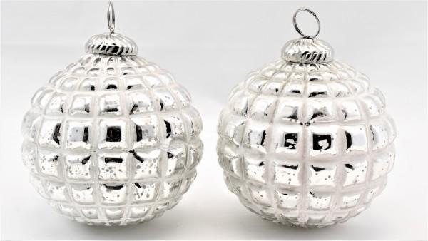 Weihnachntskugeln 2er Set Christbaumkugeln Weihnachten weiß silber 8 cm Glas-Copy