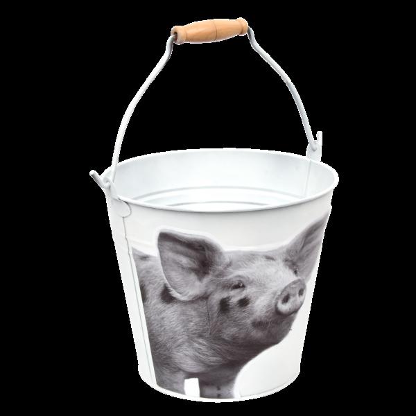 Deko Eimer Schwein Weiß Blech Esschert Design