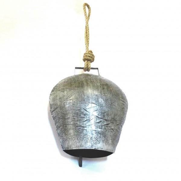 Glocke Tür Kuhglocke Deko Handglocke Metall Antik Silber 20x17 cm