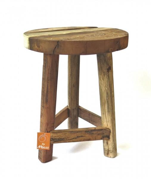 Hocker Holz Sitzhocker Braun Rund 45 cm