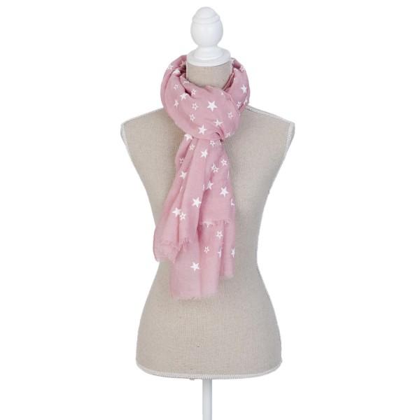 Tuch Schal Halstuch Rosa Weiße Sterne Clayre & Eef 70 x 180 cm