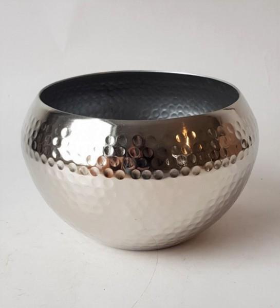 Übertopf Silber Metall Chrom Gehämmerte Optik Vase Deko 20 cm