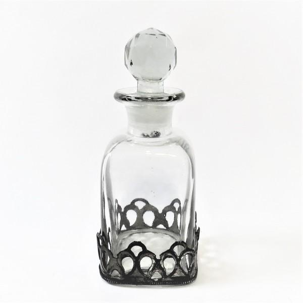 Dekoflasche aus Glas mit Eisenumrandung Vintage Retro 7 x 7 x 17 cm
