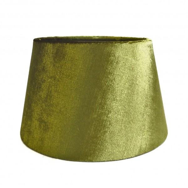 Lampenschirm Tisch Grün Moos Samt Stoff Metallic Halbhoch Colmore E27