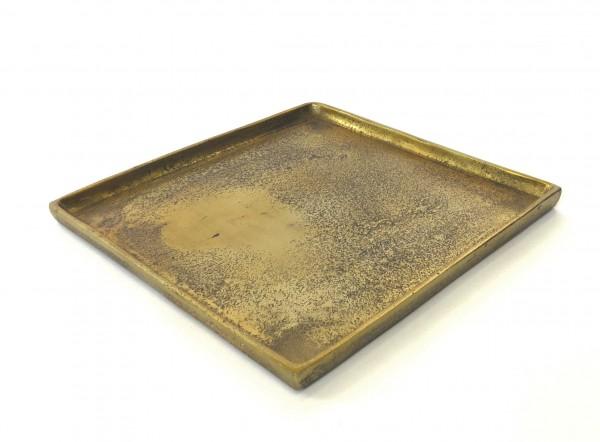 Deko Untersetzer Tablett Teller Kerzen Gold Quadrat Colmore Modern 26x26 cm