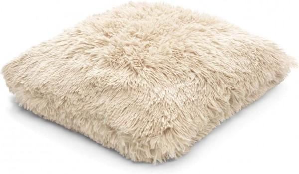 Kissen Deko Zier Sofa Kuschel Sand Beige Samt Fluffy 45 x 45 cm