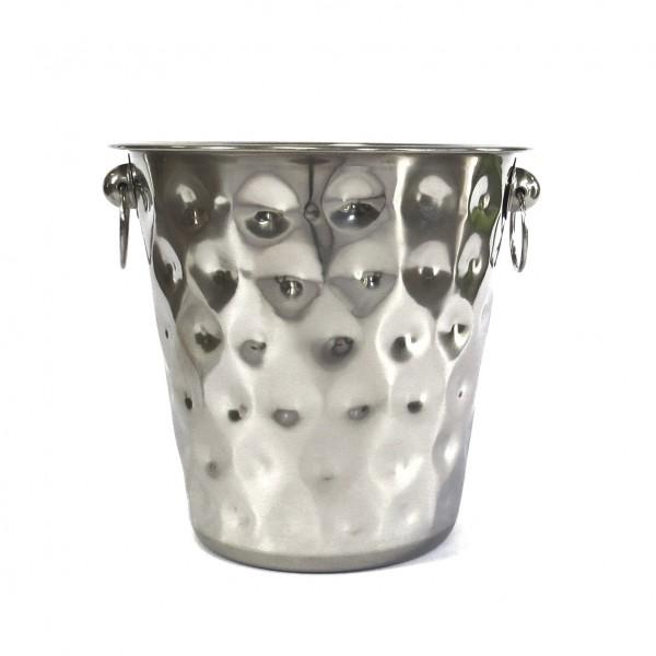 Sektkühler Eiseimer Deko Eimer Silber Metall Henkel Gefäß Gehämmerte Optik 20,5 cm