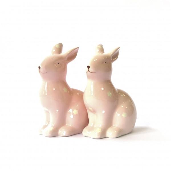 Osterhase Hase Dekohase Ostern Deko Osterdeko 2er Set Keramik rosa 15 cm