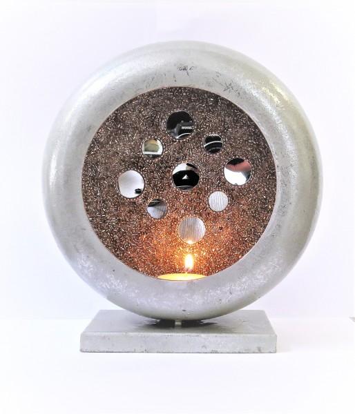 Cor Mulder Teelicht Windlicht rund Blech silber 21*20 cm