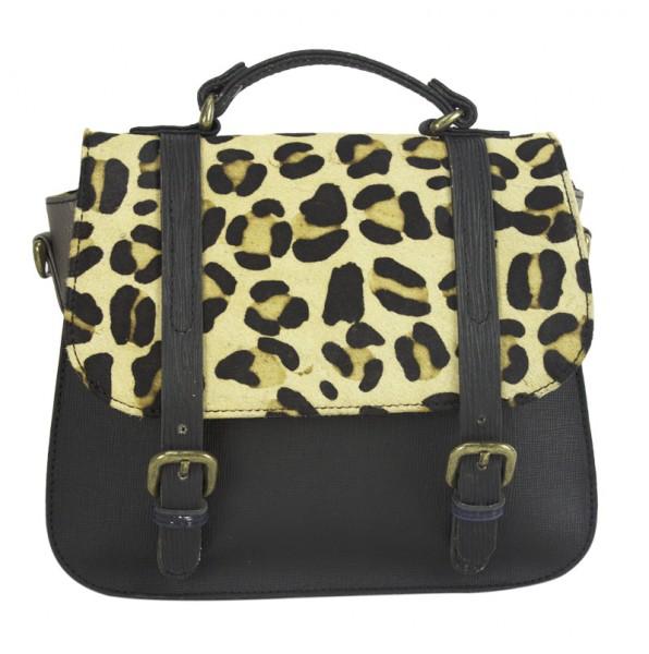 Handtasche Schultertasche Damen Leder Fell Leoparden Optik Umhängetasche