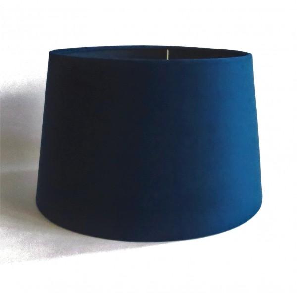 Lampenschirm Samt Blau Modern Rund Tisch E27 Dunkelblau