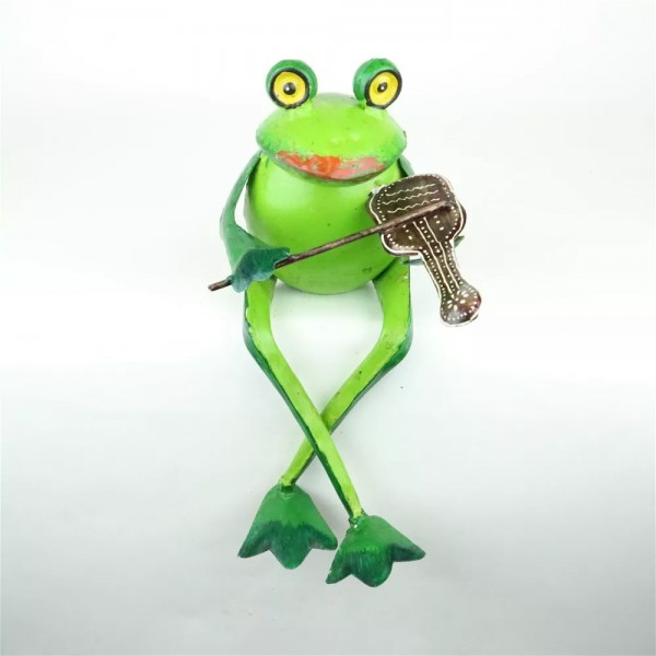 Frosch Deko Garten Metall Handarbeit Sitzend mit Geige Grün 26 cm