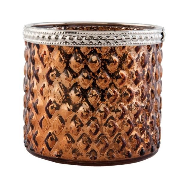 Teelichthalter Windlicht Kerzenständer Weihnachten gold Glas 8 x 7 cm Clayre & Eef 6GL1858