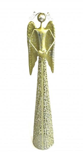 Metall Engel mit Herz Gold XL Weihnachten Deko 56 cm Antik Stil