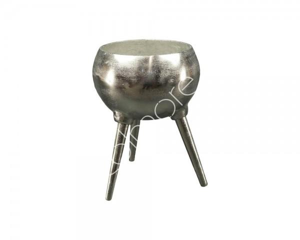 Schale auf Ständer Modern Rund Silber Deko Gefäß Metall Colmore 32 cm